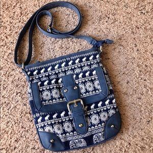 Handbags - Elephant boho style blue/white crossbody purse